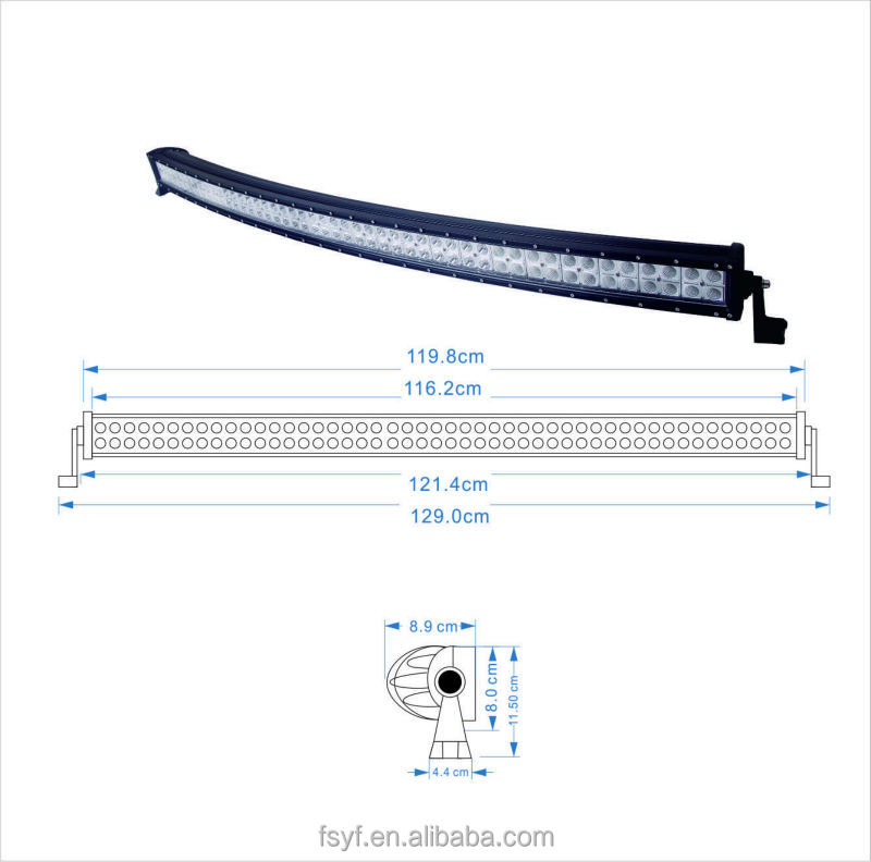 4x4 curved led light bar 50 inch 288w