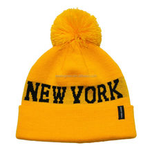 NEW YORK acrylic jacquard pom pom knit bright beanie hat