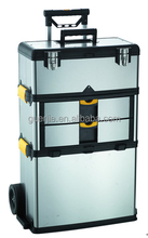 3 layer 2 wheels stainless steel tool box trolley