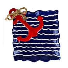 Blue Wavy Stripe Red Anchor Hand Painted Ceramic Serving Plate