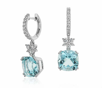 Cushion-Cut Aquamarine and Diamond Drop Earrings real white gold jewelry cheap