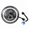 45w 7inch sealed beam auto lighting for jeep jk wrangler chrome halo ring led headlight