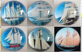 GLASS DOME PAPERWEIGHT W/ BOAT IMAGE INSIDE