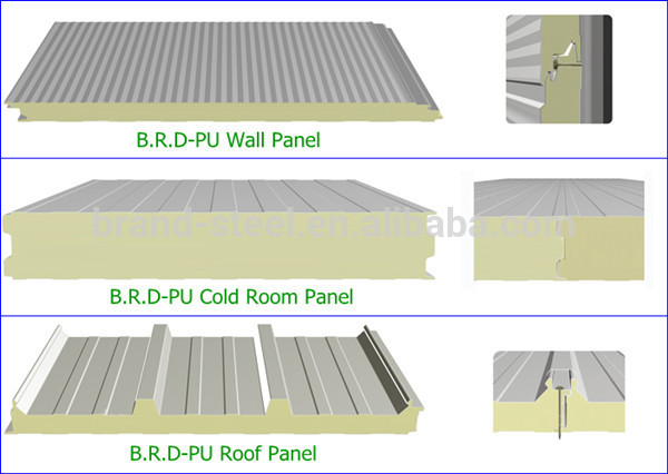 Corrugated pu sandwich panel for ceiling and walls buy pu polyurethane sandwich panel