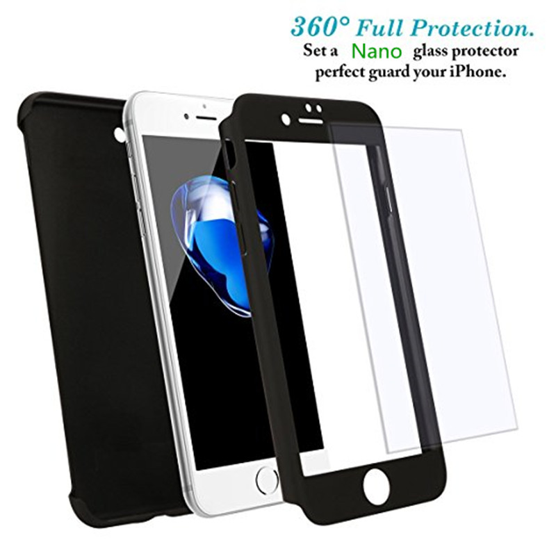 2017 Luxury 360 Degree Ultra-thin Hard Case for iPhone 8 Plus Nano Glass Full Protector Phone Cover for Apple iPhone Case