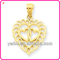 fashion zinc alloy gold plated heart link two small heart charm