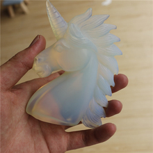 White opal unicorn opal stone crystal unicorn hand carved figurines