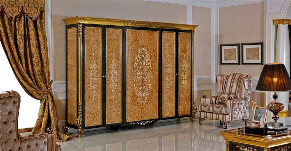 0061 golden bedroom furniture wardrobe designs european classic wooden furniture clothes cabinet for Decolam designs for bedroom