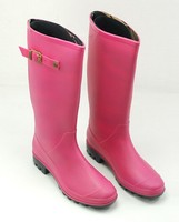 pvc gumboots pink mid calf water shoes foldable rain boot