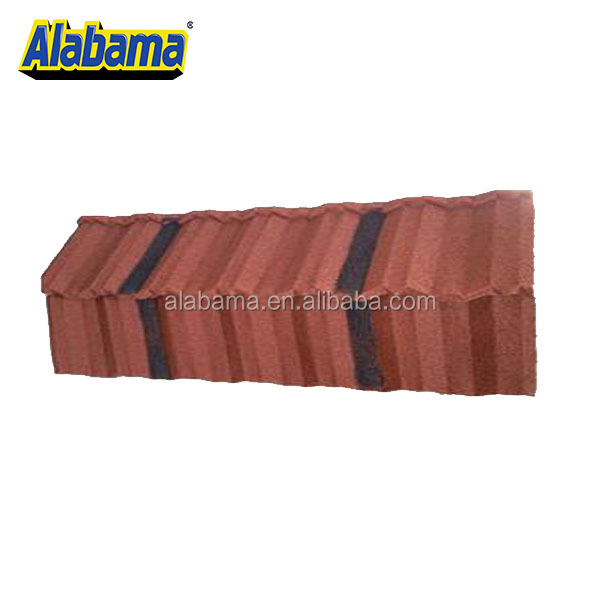 Soncap Stone Coated Hot Nigeria Deco Top Grade Decorative Villa Zinc Chinese Glazed Ridge Colorful Building Material Roof Tile
