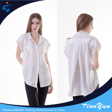 Good quality short sleeve new casual white blouse for women
