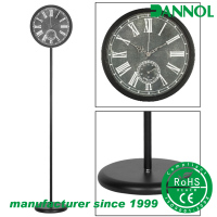 China manufacturer decoracion vintage metal stand clock with thermometer