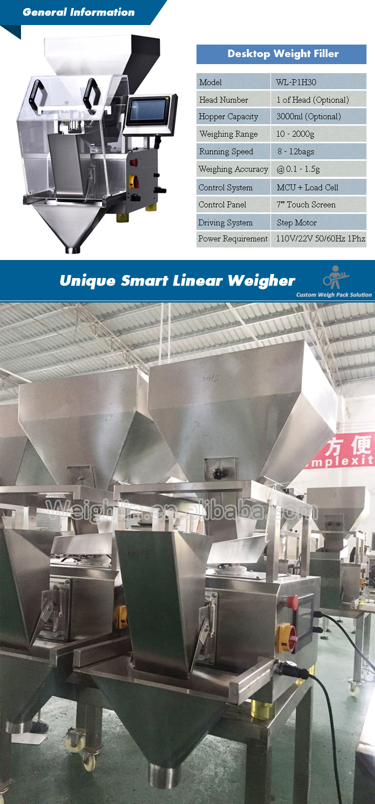 Automatic linear weigher packaging machine filling coffee beans pistachios granule trigo flour powder