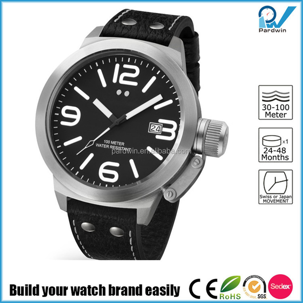 Build your watch brand easily man winner watch stainless steel case and back calendar function