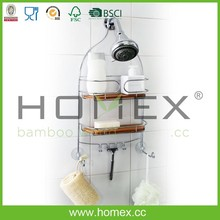 2 Tier Bamboo Shower Caddy Shelf with Hook/Homex_FSC/BSCI Factory