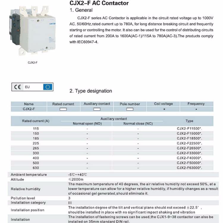AC contactor CJX2-F/LC1-F 115A 3P ac magnetic contactor CJX2-F AC contactor 220V 380V