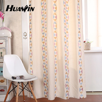 2016 latest multicolour triangle pattern canvas plain embroidery window curtain design for living room