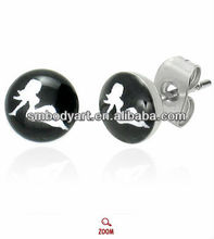 Fashion Girl Logo 316L Stainless Steel Ear Studs Piercing Jewelry SMSHEDD0004