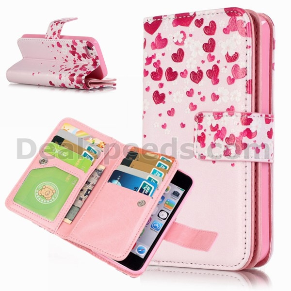 Stand leather flip case for iphone 5 5s wallet case