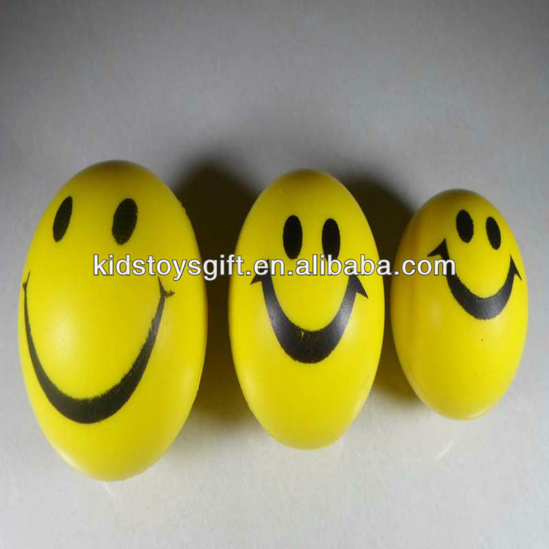 colorful PU ball toy/ smile face stress ball for kids