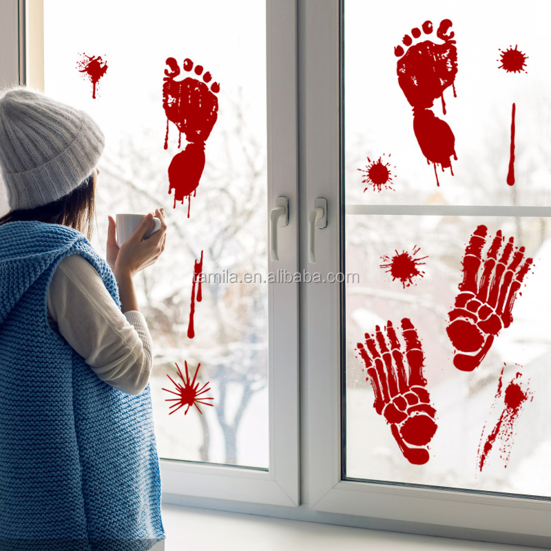 Removable PVC kids room halloween horrible blood footprint wall sticker for home decoration
