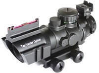 Tactical Vector Optics 4x32 Compact Riflescope Fiber Gun Sight 3-Colour Illuminated Reticle fit 223 AR-15