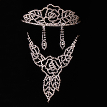 Bridal wedding rhinestone leaf jewelry set with necklace tira and earrings