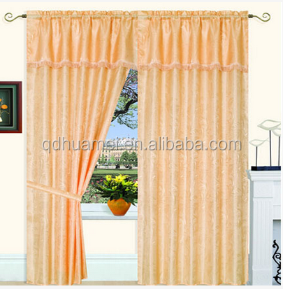 100% polyester satin printing window curtain with fashion valance with taffeta liner,tassels