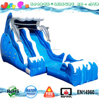 dry wet dolphin water slide with detachable pool cheap ocean wave inflatable water slide, used water slides for sale