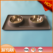 Pet Bowl Double Dog Bowl No Spill Silicone Mat Stainless Steel Dog Bowl