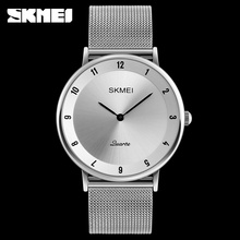Skmei 1264 vintage wrist watch for men 6mm ultra thin stainless steel watch