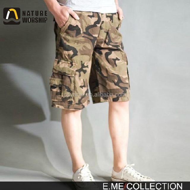 Men Latest Design Cotton Short Pants, Cheap Men Cargo Camouflage Short Pants Trousers
