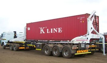 Container trailer side loader