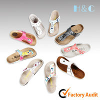 HC-303 fully adjustable strap PU upper cow suede liner soft cork sole slipper for women