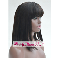 14 Inch 150% Density Black Straight Glueless Brazilian Human Hair Short Bob Lace Front Wigs with Full Bangs for Black Women