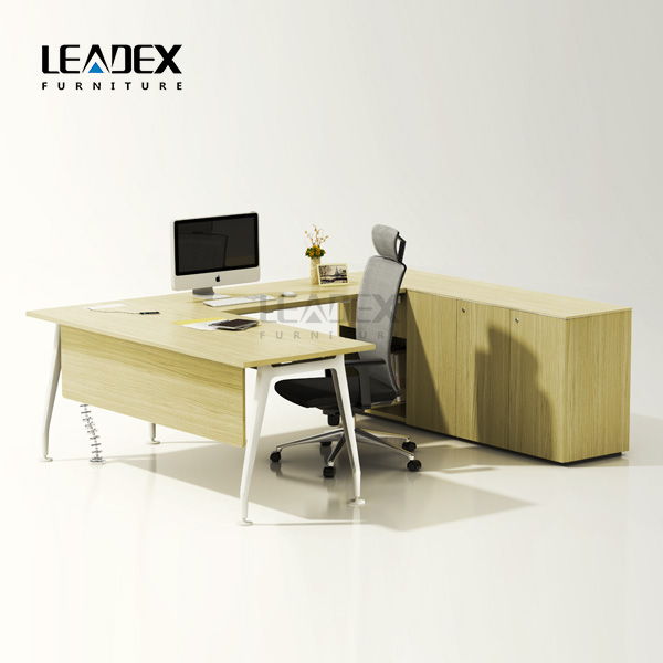 delicate colors L shape with supportive back unit executive office table