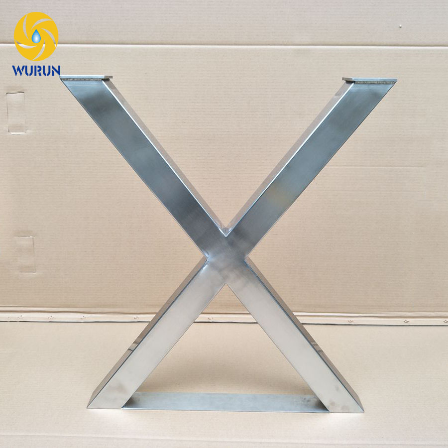 Customize indoor furniture parts x shape modern stainless steel wrought furniture metal table legs