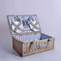 Wholesale made in china Portable handmade firm wicker picnic baskets with fabric with cutlery