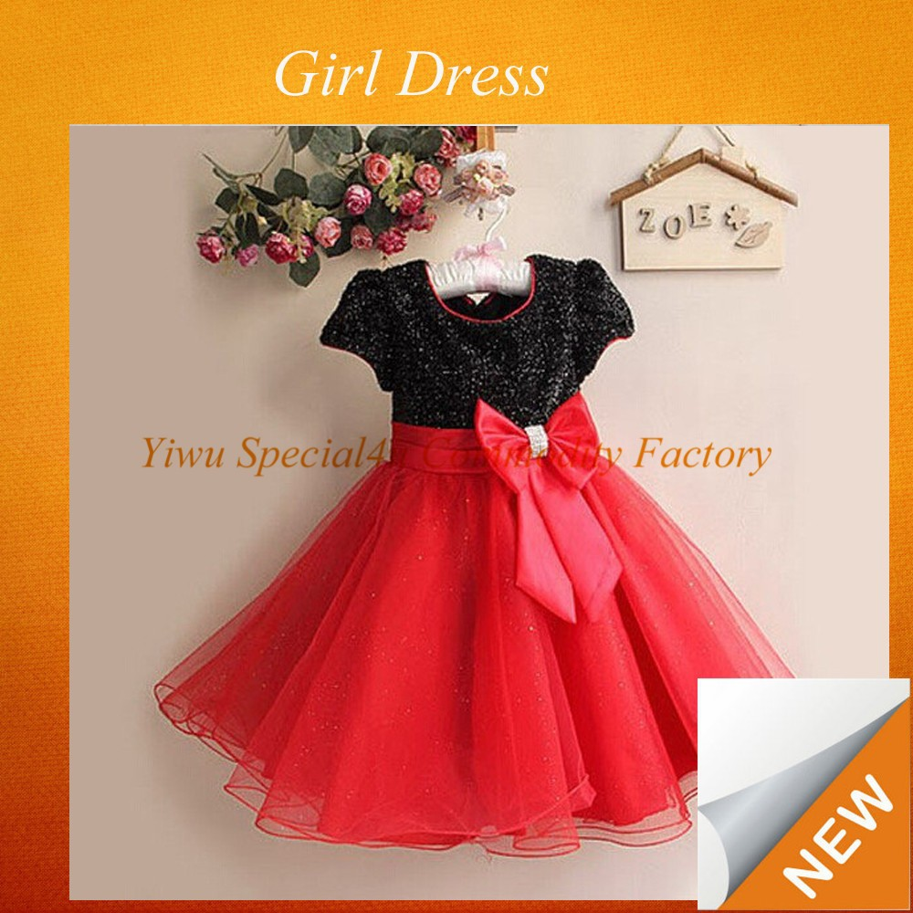 Big Bowred color with black beauty new model girl party red color flower design birthday dress for 3 year old SPXC-281