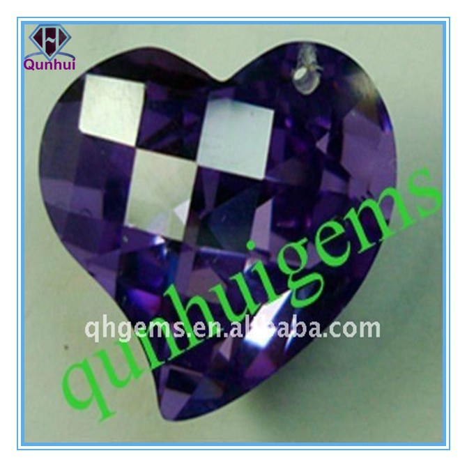 heart shaped amethyst cubic zircon stone