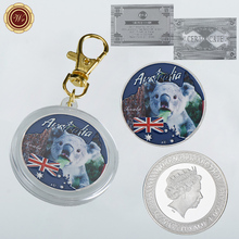 High quality one dollar coins silver souvenirs koala coin keychain replica for gift