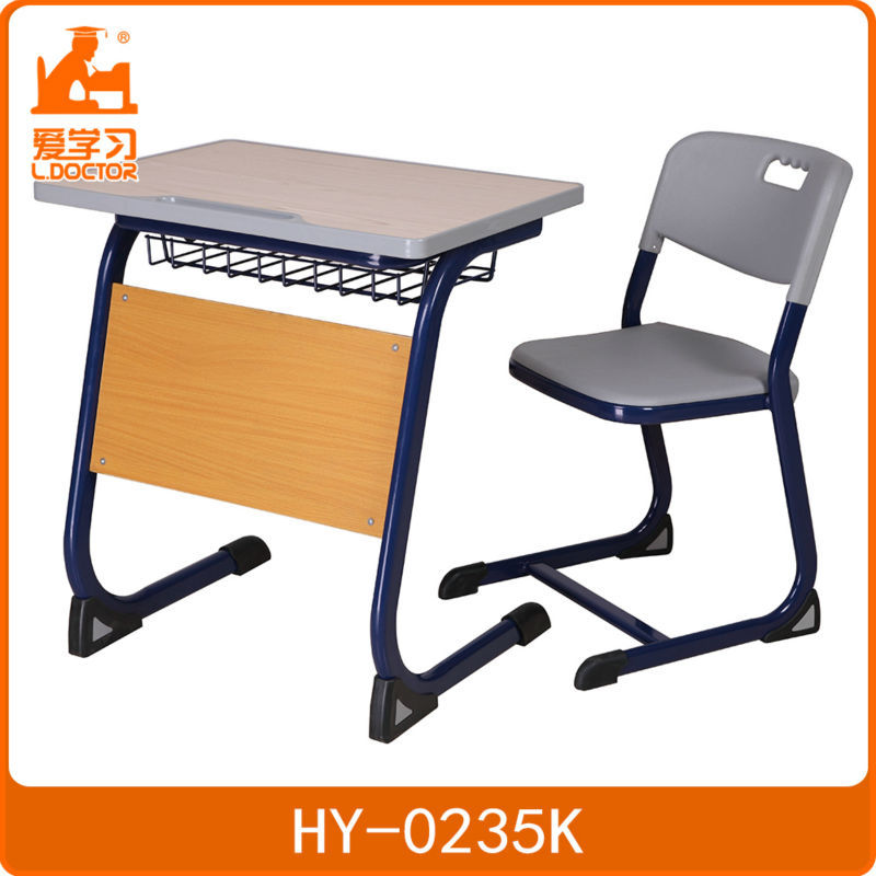 plywood steel frame school study desk and chair