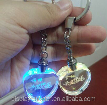 Personalized crystal keychains for promotion with 3d engraved logo
