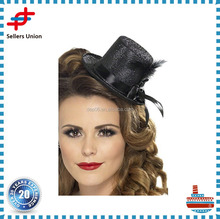 Women Feather Hair Clip Hat Fascinator Decoration Cocktail Billycocks Mini Victorian Top Hat