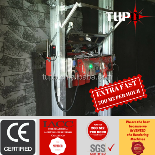 Tupo 8 Auto construction machinery cement wall plastering machine/single or three phase coating thickness from0.5cm-3cm