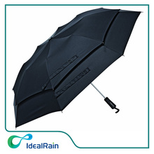 Hot Sale Windproof Double Layer Black Men 3 Folding Umbrella