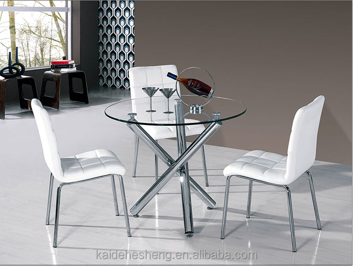 Modern Antiquated Adjustable Height Circle Glass Dining Room Table