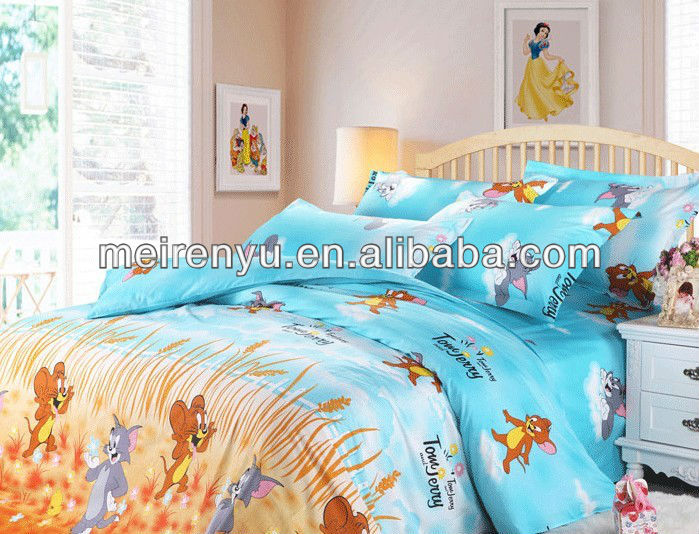 2015 china printed fabric bedding 100 cotton colorful cartoon sheet set Tom and Jerry pattern bed sheets sets for kids