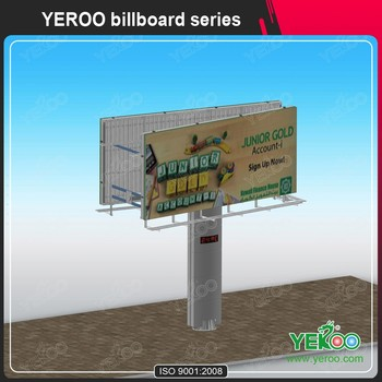 Customized size steel outdoor billboard advertisement with spot lights