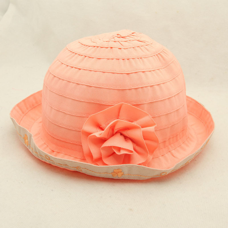 new fashion infant toddler baby kids short brim floppy plain fold boonie bucket sun hat with flower